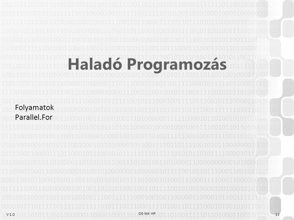 V 1.0 OE-NIK HP 13 Haladó Programozás Folyamatok Parallel.For