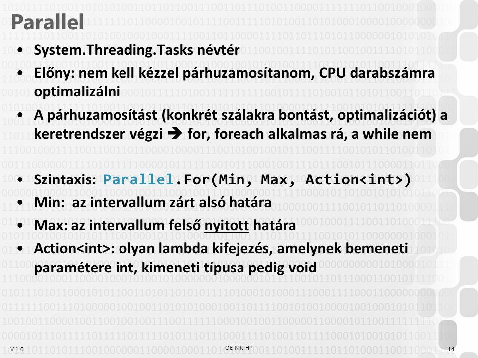 V 1.0 Parallel System.Threading.Tasks névtér Előny: nem kell kézzel párhuzamosítanom, CPU darabszámra optimalizálni A párhuzamosítást (konkrét szálakra bontást, optimalizációt) a keretrendszer végzi  for, foreach alkalmas rá, a while nem Szintaxis: Parallel.For(Min, Max, Action ) Min: az intervallum zárt alsó határa Max: az intervallum felső nyitott határa Action : olyan lambda kifejezés, amelynek bemeneti paramétere int, kimeneti típusa pedig void OE-NIK HP 14