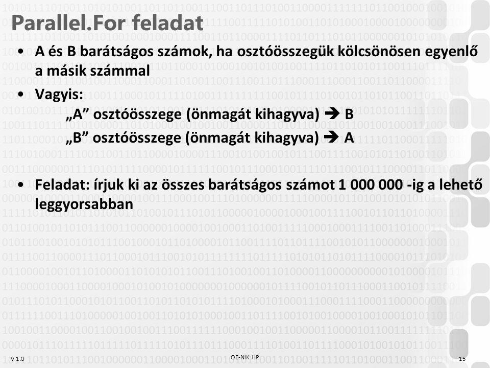 """V 1.0 Parallel.For feladat A és B barátságos számok, ha osztóösszegük kölcsönösen egyenlő a másik számmal Vagyis: """"A osztóösszege (önmagát kihagyva)  B """"B osztóösszege (önmagát kihagyva)  A Feladat: írjuk ki az összes barátságos számot 1 000 000 -ig a lehető leggyorsabban OE-NIK HP 15"""