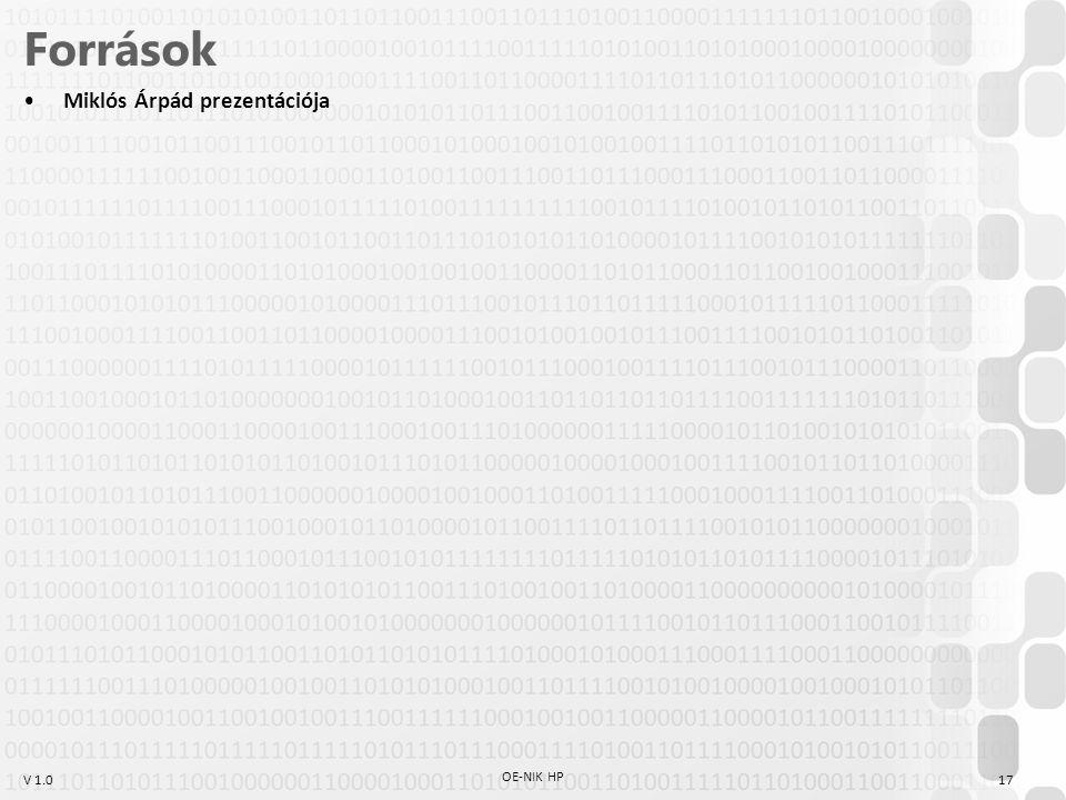 V 1.0 OE-NIK HP 17 Források Miklós Árpád prezentációja