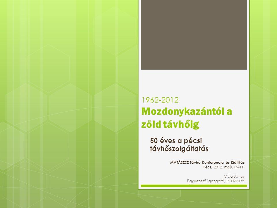 1962-2012 Mozdonykazántól a zöld távhőig 50 éves a pécsi távhőszolgáltatás MATÁSZSZ Távhő Konferencia és Kiállítás Pécs, 2012.