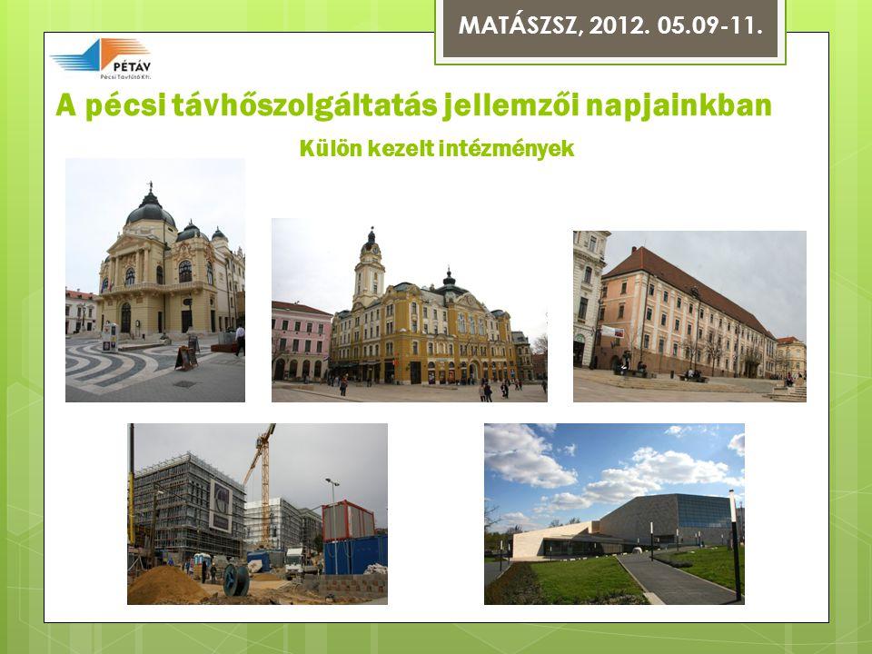 A pécsi távhőszolgáltatás jellemzői napjainkban Külön kezelt intézmények MATÁSZSZ, 2012. 05.09-11.