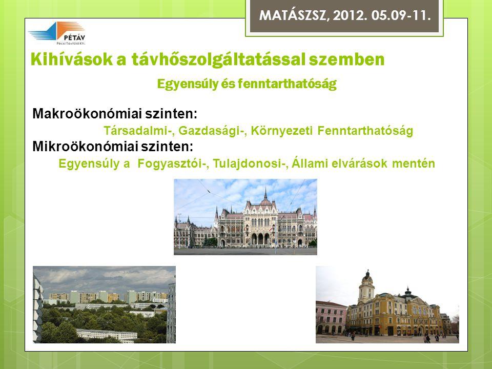 Kihívások a távhőszolgáltatással szemben Makroökonómiai szinten: Társadalmi-, Gazdasági-, Környezeti Fenntarthatóság Mikroökonómiai szinten: Egyensúly a Fogyasztói-, Tulajdonosi-, Állami elvárások mentén MATÁSZSZ, 2012.