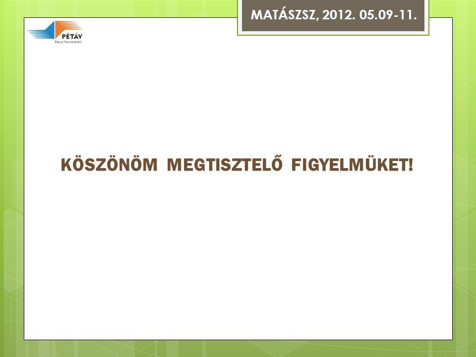 MATÁSZSZ, 2012. 05.09-11. KÖSZÖNÖM MEGTISZTELŐ FIGYELMÜKET!