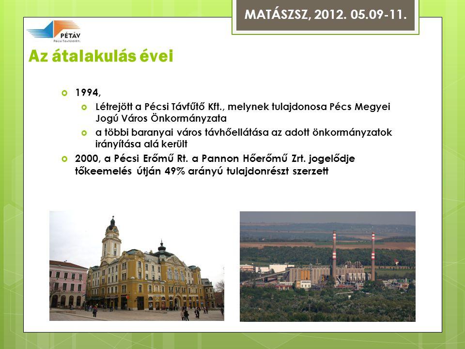 Az átalakulás évei  1994,  Létrejött a Pécsi Távfűtő Kft., melynek tulajdonosa Pécs Megyei Jogú Város Önkormányzata  a többi baranyai város távhőellátása az adott önkormányzatok irányítása alá került  2000, a Pécsi Erőmű Rt.