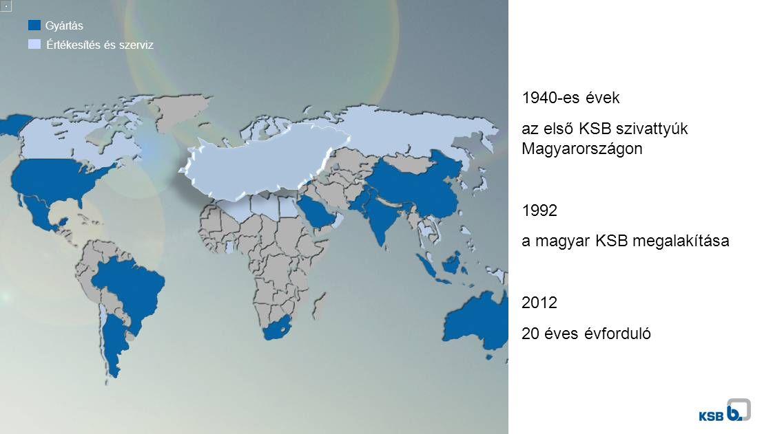 Gyártás Értékesítés és szerviz 1940-es évek az első KSB szivattyúk Magyarországon 1992 a magyar KSB megalakítása 2012 20 éves évforduló