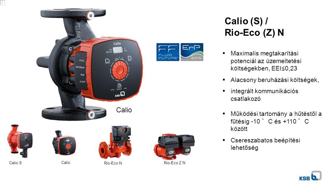 Calio (S) / Rio-Eco (Z) N Calio Calio S Calio Rio-Eco N Rio-Eco Z N  Maximalis megtakarítási potenciál az üzemeltetési költségekben, EEI≤0,23  Alacsony beruházási költségek,  integrált kommunikációs csatlakozó  Működési tartomány a hűtéstől a fűtésig -10 °C és +110 °C között  Csereszabatos beépítési lehetőség
