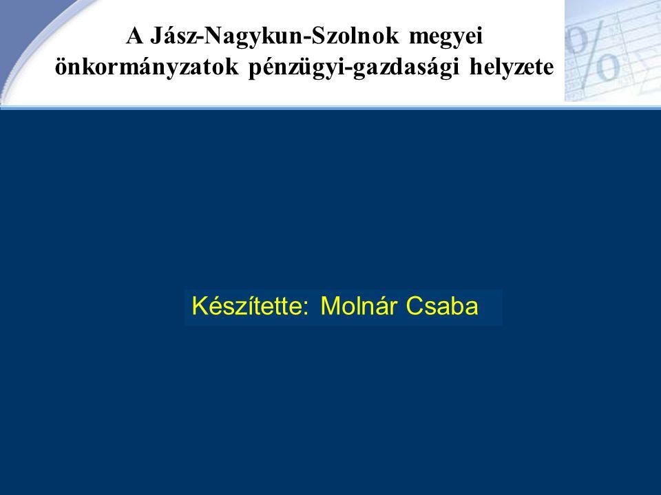 A Jász-Nagykun-Szolnok megyei önkormányzatok pénzügyi-gazdasági helyzete Készítette: Molnár Csaba