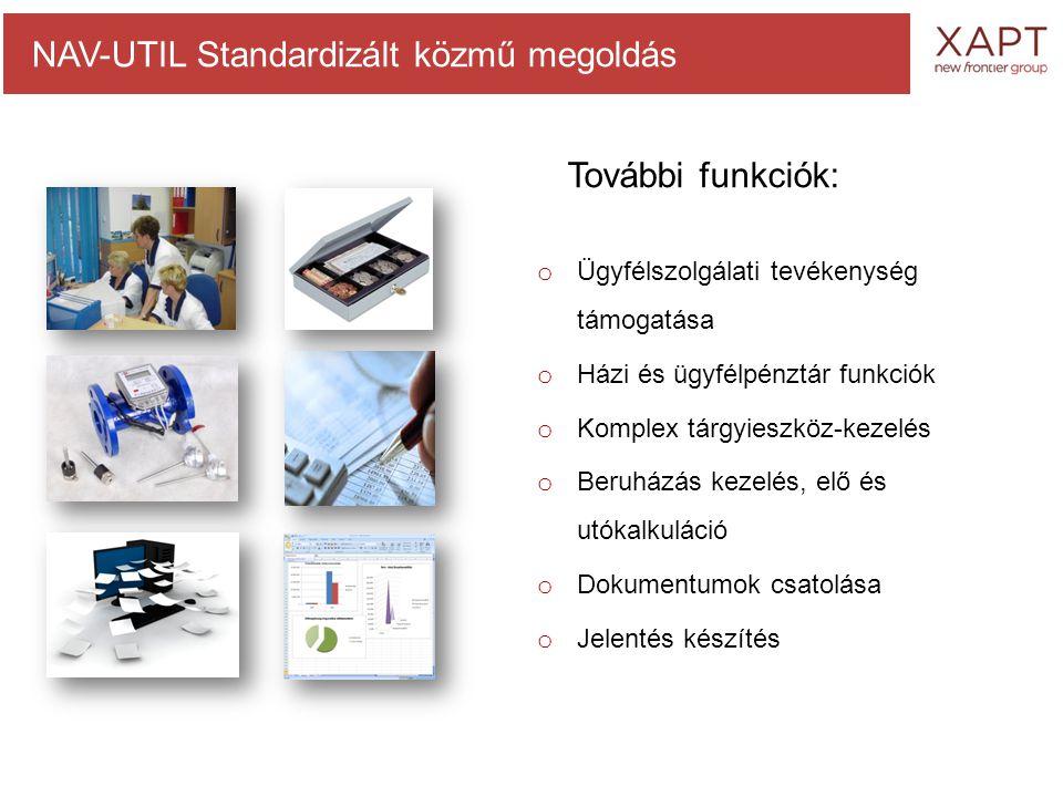 o Ügyfélszolgálati tevékenység támogatása o Házi és ügyfélpénztár funkciók o Komplex tárgyieszköz-kezelés o Beruházás kezelés, elő és utókalkuláció o Dokumentumok csatolása o Jelentés készítés NAV-UTIL Standardizált közmű megoldás További funkciók: