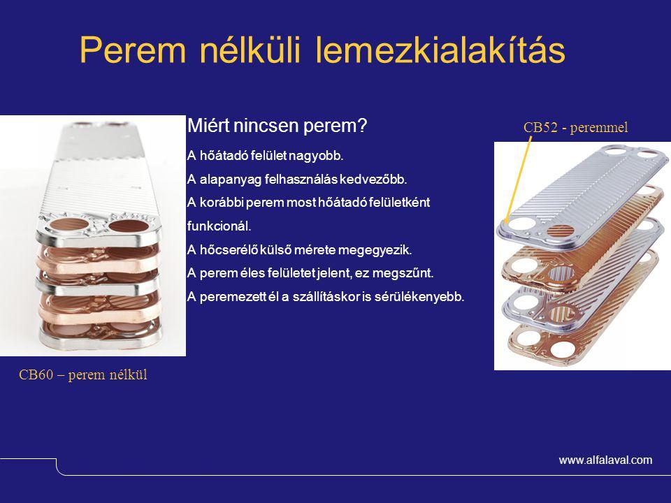 www.alfalaval.com Perem nélküli lemezkialakítás Miért nincsen perem? A hőátadó felület nagyobb. A alapanyag felhasználás kedvezőbb. A korábbi perem mo