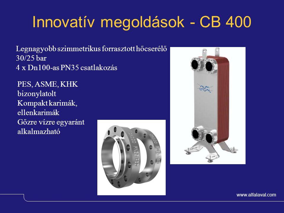 www.alfalaval.com Innovatív megoldások - CB 400 Magnus Wessman – OEM & Comfort Legnagyobb szimmetrikus forrasztott hőcserélő 30/25 bar 4 x Dn100-as PN