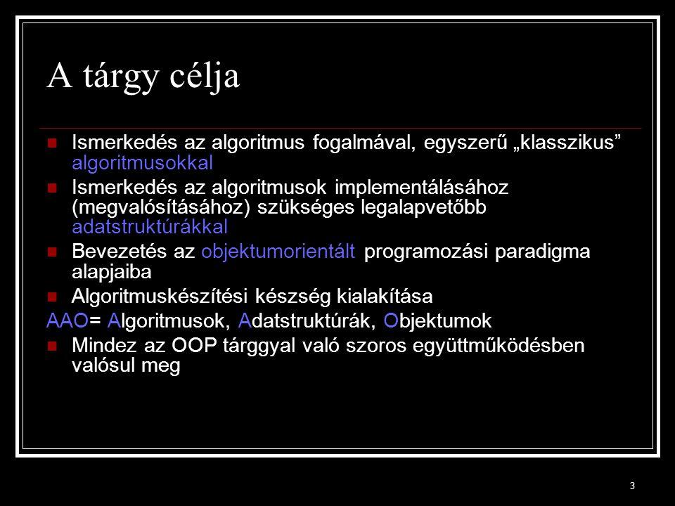 4 Irodalom Könyvek, amibikből lehet meríteni: Cormen, Leiserson, Rivest: Algoritmusok (újabb kiadás is, valamint Informatikai algoritmusok) Trahtenbrot: Algoritmusok és absztrakt automaták Kotsis et al: Többnyelvű programozástechnika Lovász L., Gács P.: Algoritmusok Referencia linkek: Matematikai háttér http://mathworld.wolfram.com/http://mathworld.wolfram.com/ Lexikon: http://wikipedia.org/http://wikipedia.org/ Ajánlott feladatgyűjtemény (PPKE) (A Kotsis et al könyv mellett): http://digitus.itk.ppke.hu/~lovei/2007-2/feladatok.html http://digitus.itk.ppke.hu/~lovei/2007-2/feladatok.html