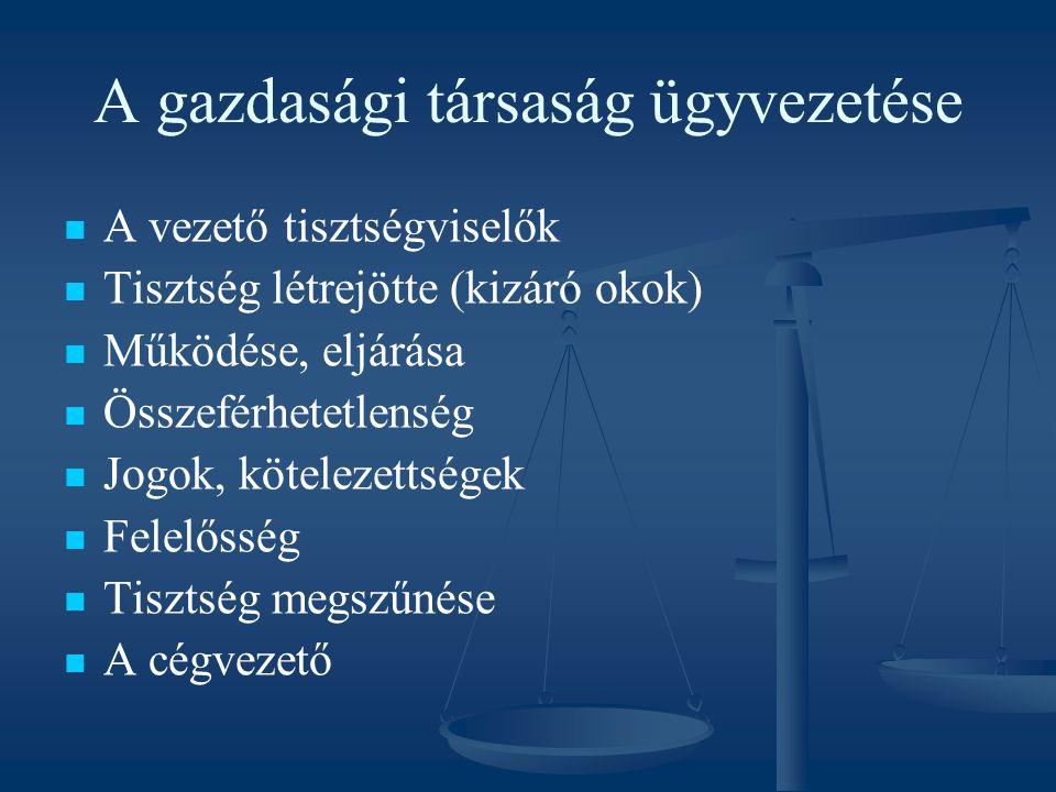 Felügyelőbizottság Létrehozása – kógens esetek Feladatai A tagok jogai és kötelezettségei A munkavállalókat megillető ellenőrzési jog