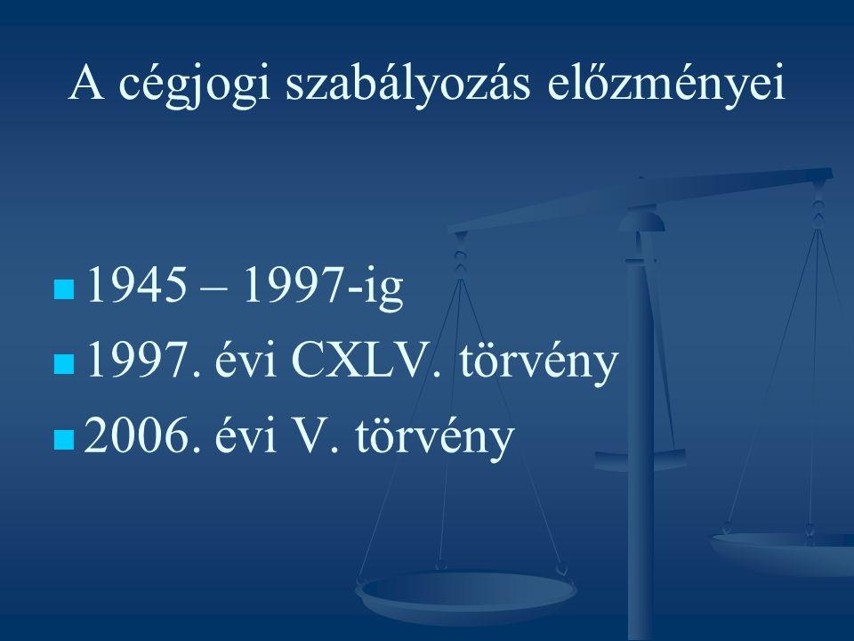 A 2006.évi V. törvény szerkezete I. Fejezet Alapvető rendelkezések II.