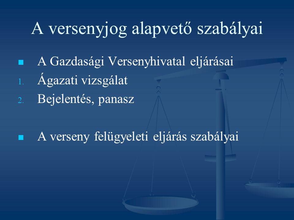 A versenyjog alapvető szabályai A Gazdasági Versenyhivatal eljárásai 1. 1. Ágazati vizsgálat 2. 2. Bejelentés, panasz A verseny felügyeleti eljárás sz
