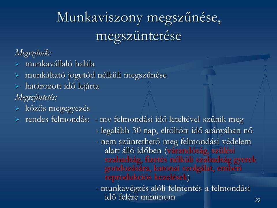 Munkaviszony megszűnése, megszüntetése Megszűnik:  munkavállaló halála  munkáltató jogutód nélküli megszűnése  határozott idő lejárta Megszüntetés: