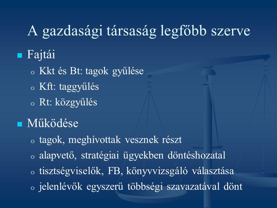 A gazdasági társaság legfőbb szerve Fajtái o o Kkt és Bt: tagok gyűlése o o Kft: taggyűlés o o Rt: közgyűlés Működése o o tagok, meghívottak vesznek r