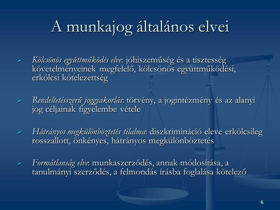 A munkajog általános elvei  Kölcsönös együttműködés elve: jóhiszeműség és a tisztesség követelményeinek megfelelő, kölcsönös együttműködési, erkölcsi