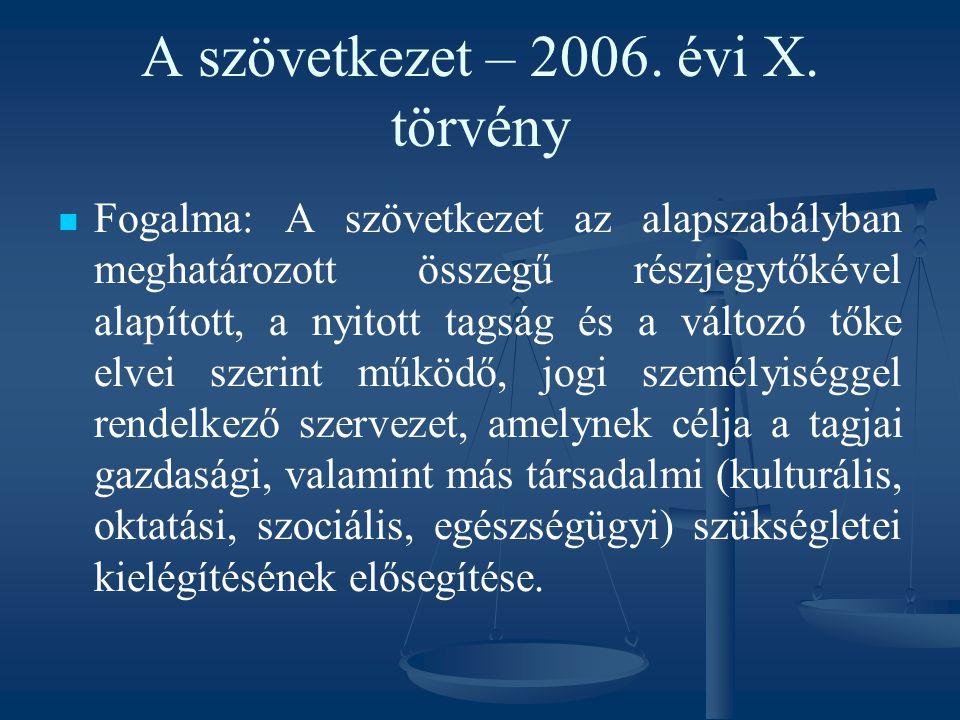 A szövetkezet – 2006. évi X. törvény Fogalma: A szövetkezet az alapszabályban meghatározott összegű részjegytőkével alapított, a nyitott tagság és a v