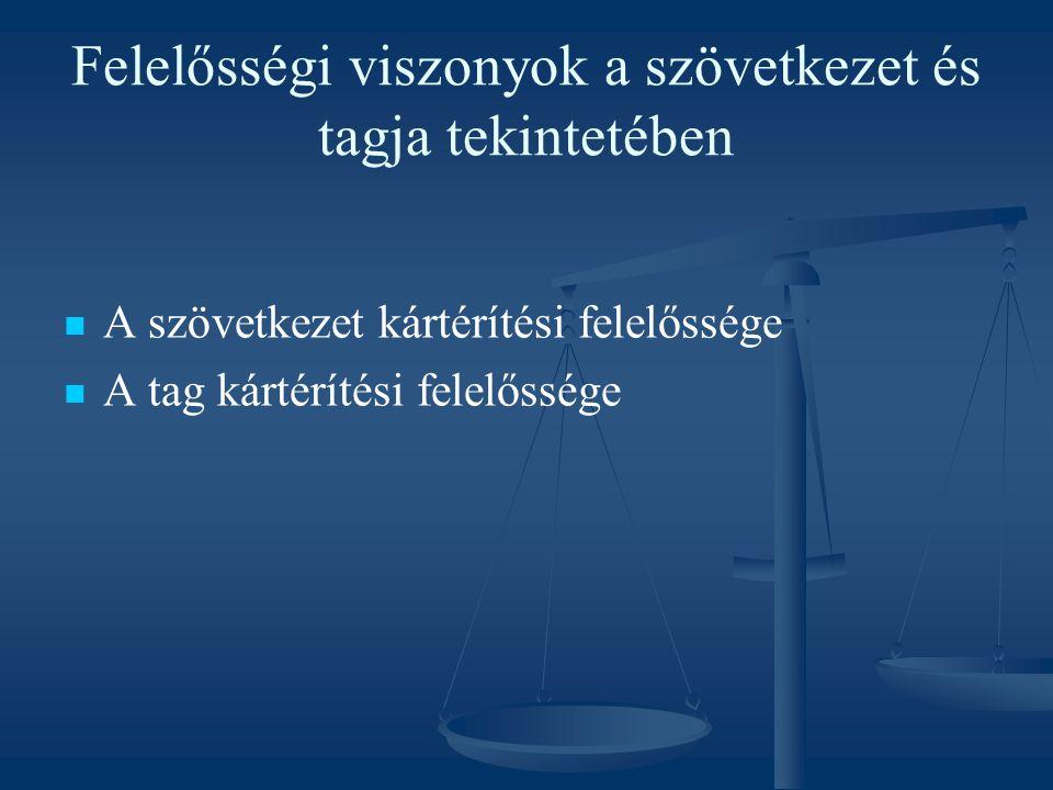 Felelősségi viszonyok a szövetkezet és tagja tekintetében A szövetkezet kártérítési felelőssége A tag kártérítési felelőssége