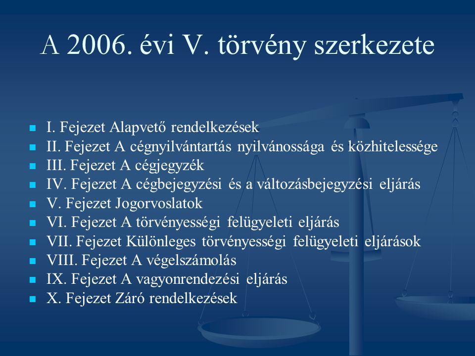 A 2006. évi V. törvény szerkezete I. Fejezet Alapvető rendelkezések II. Fejezet A cégnyilvántartás nyilvánossága és közhitelessége III. Fejezet A cégj