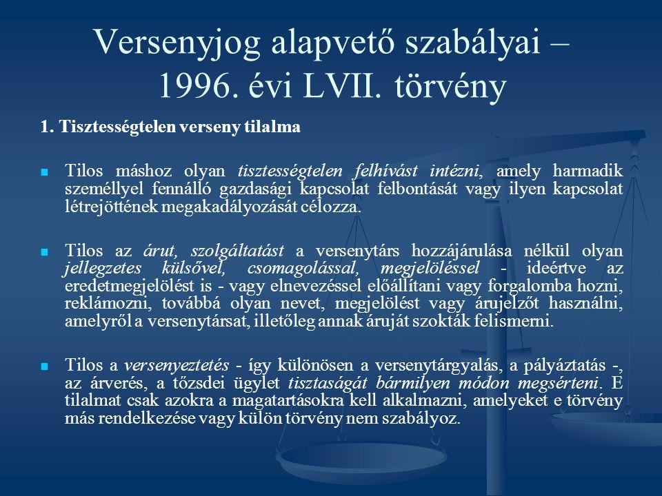 Versenyjog alapvető szabályai – 1996. évi LVII. törvény 1. Tisztességtelen verseny tilalma Tilos máshoz olyan tisztességtelen felhívást intézni, amely