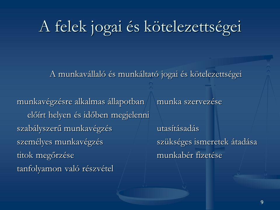 A felek jogai és kötelezettségei A munkavállaló és munkáltató jogai és kötelezettségei A munkavállaló és munkáltató jogai és kötelezettségei munkavégz