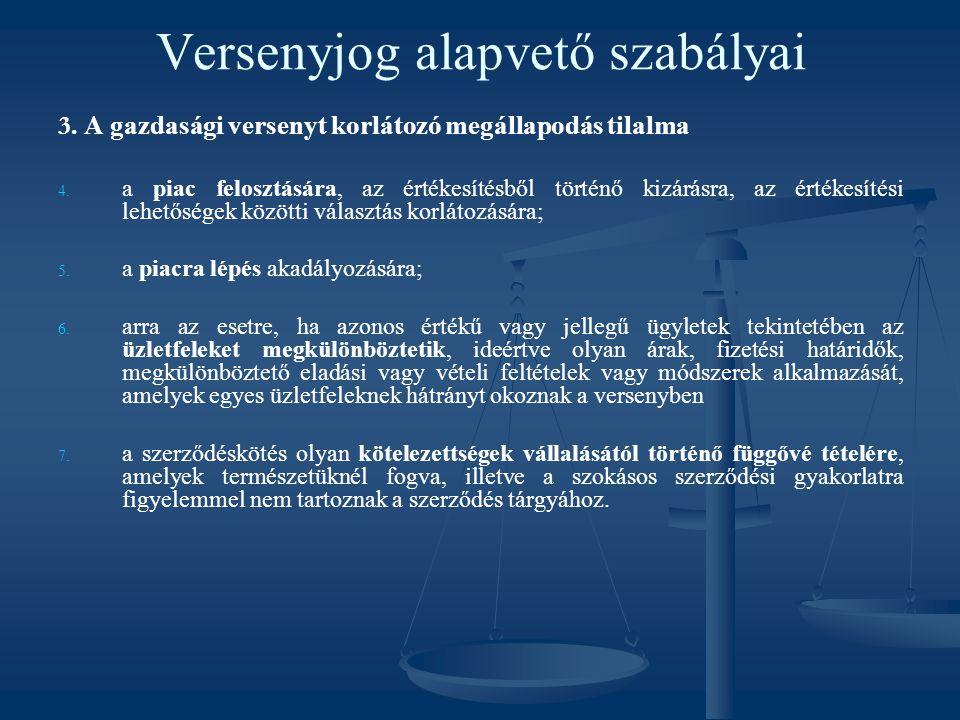 Versenyjog alapvető szabályai 3. A gazdasági versenyt korlátozó megállapodás tilalma 4. 4. a piac felosztására, az értékesítésből történő kizárásra, a