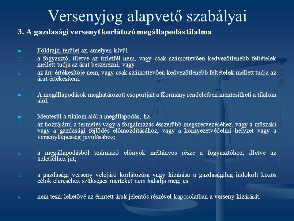 Versenyjog alapvető szabályai 3. A gazdasági versenyt korlátozó megállapodás tilalma Földrajzi terület az, amelyen kívül 1. 1. a fogyasztó, illetve az