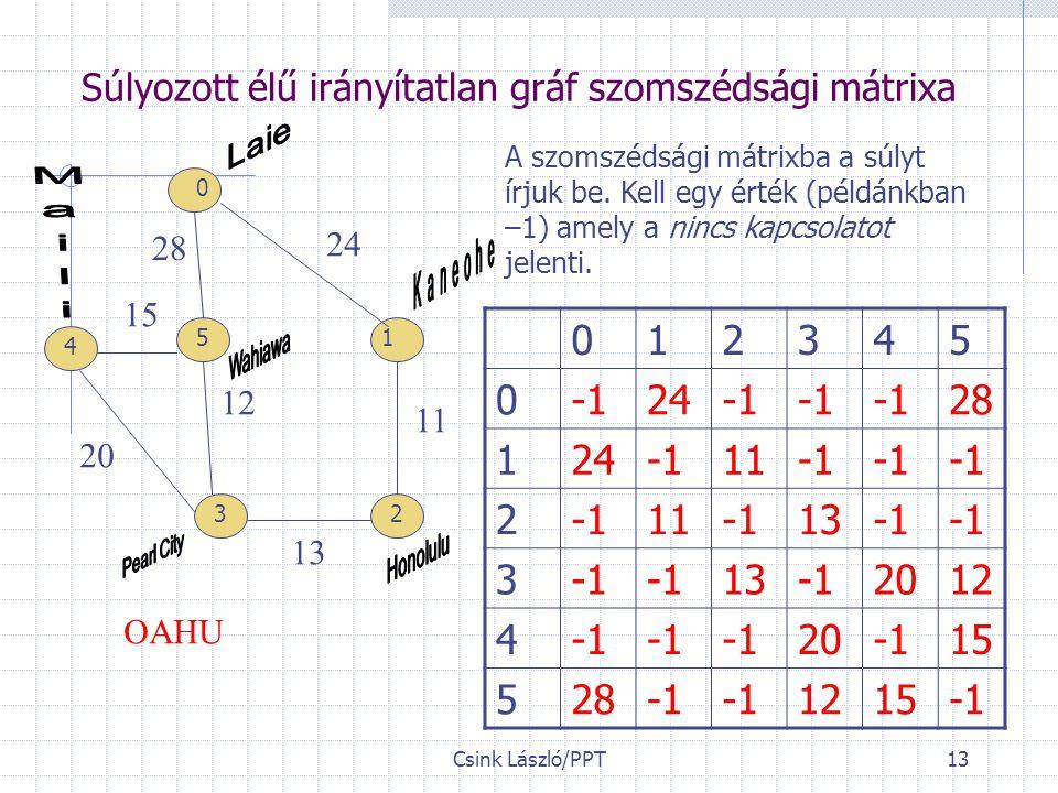 Csink László/PPT13 Súlyozott élű irányítatlan gráf szomszédsági mátrixa 28 24 11 13 15 20 12 OAHU A szomszédsági mátrixba a súlyt írjuk be.