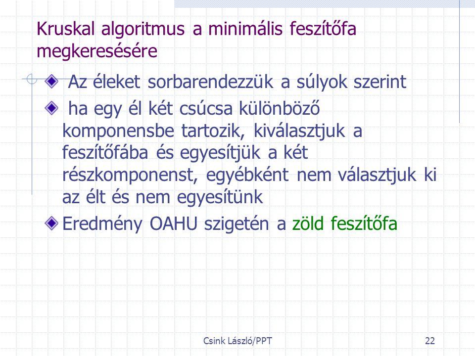 Csink László/PPT22 Kruskal algoritmus a minimális feszítőfa megkeresésére Az éleket sorbarendezzük a súlyok szerint ha egy él két csúcsa különböző komponensbe tartozik, kiválasztjuk a feszítőfába és egyesítjük a két részkomponenst, egyébként nem választjuk ki az élt és nem egyesítünk Eredmény OAHU szigetén a zöld feszítőfa