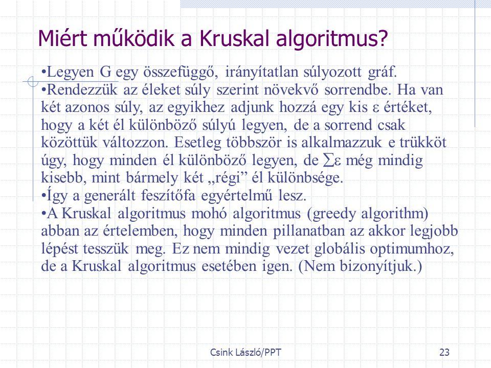 Csink László/PPT23 Miért működik a Kruskal algoritmus.