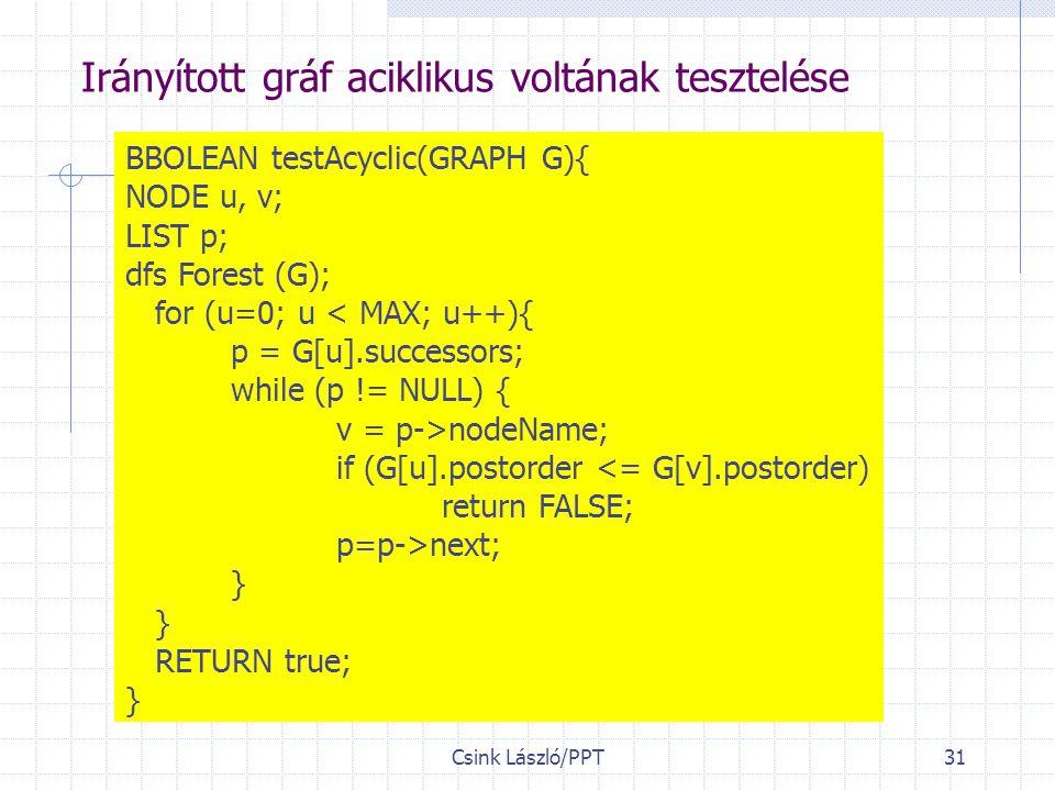 Csink László/PPT31 Irányított gráf aciklikus voltának tesztelése BBOLEAN testAcyclic(GRAPH G){ NODE u, v; LIST p; dfs Forest (G); for (u=0; u < MAX; u++){ p = G[u].successors; while (p != NULL) { v = p->nodeName; if (G[u].postorder <= G[v].postorder) return FALSE; p=p->next; } RETURN true; }