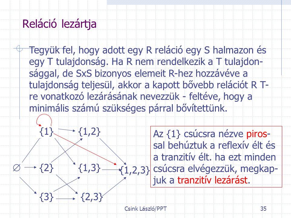 Csink László/PPT35 Reláció lezártja Tegyük fel, hogy adott egy R reláció egy S halmazon és egy T tulajdonság.