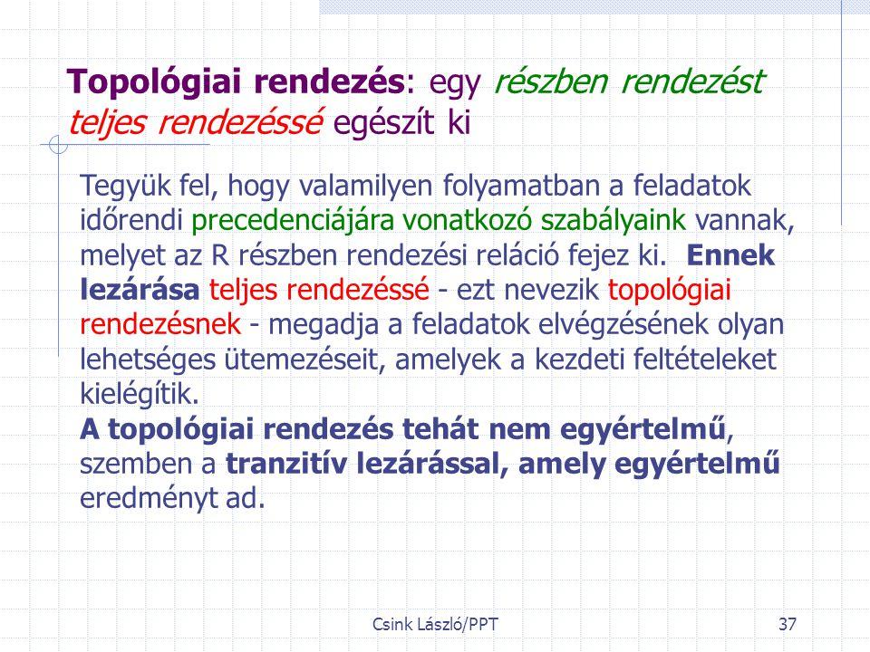 Csink László/PPT37 Topológiai rendezés: egy részben rendezést teljes rendezéssé egészít ki Tegyük fel, hogy valamilyen folyamatban a feladatok időrendi precedenciájára vonatkozó szabályaink vannak, melyet az R részben rendezési reláció fejez ki.