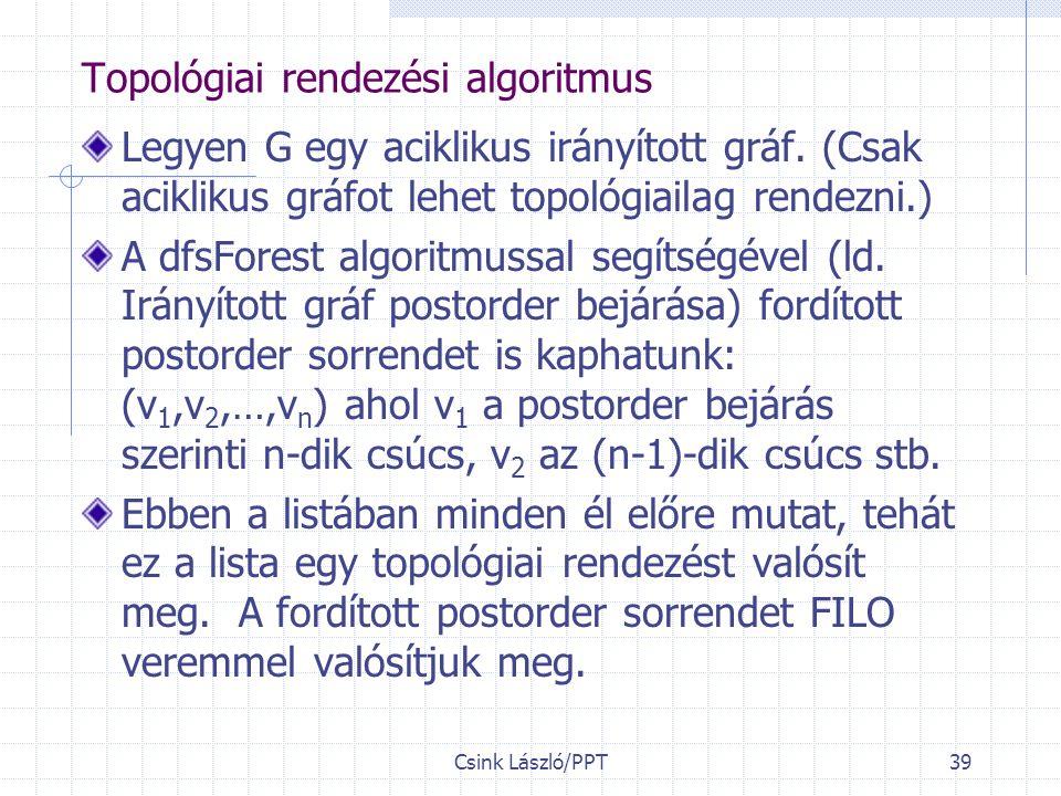 Csink László/PPT39 Topológiai rendezési algoritmus Legyen G egy aciklikus irányított gráf.