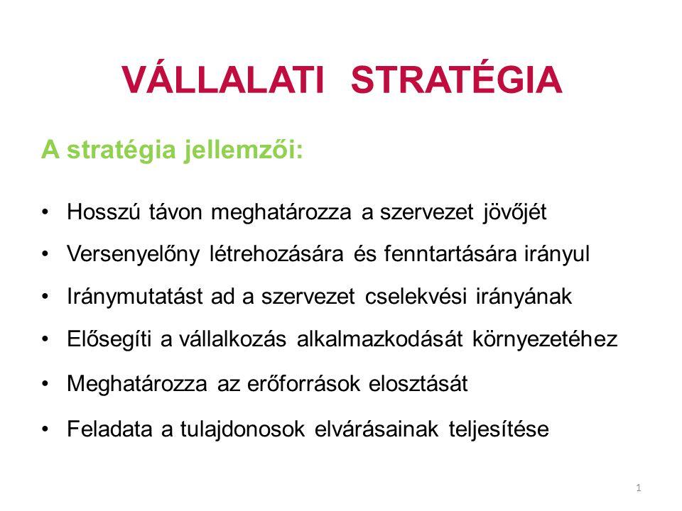 VÁLLALATI STRATÉGIA A stratégia jellemzői: Hosszú távon meghatározza a szervezet jövőjét Versenyelőny létrehozására és fenntartására irányul Iránymuta