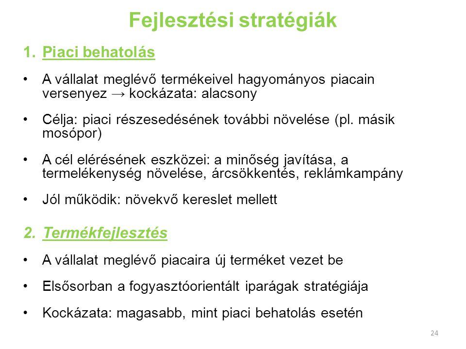 Fejlesztési stratégiák 1.Piaci behatolás A vállalat meglévő termékeivel hagyományos piacain versenyez → kockázata: alacsony Célja: piaci részesedéséne
