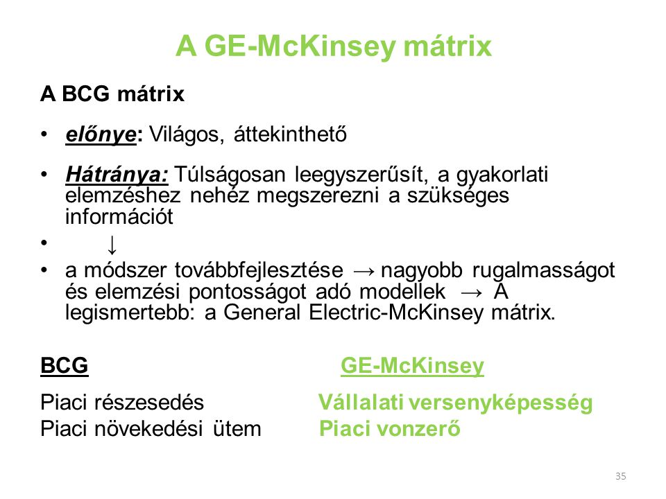 A GE-McKinsey mátrix A BCG mátrix előnye: Világos, áttekinthető Hátránya: Túlságosan leegyszerűsít, a gyakorlati elemzéshez nehéz megszerezni a szüksé