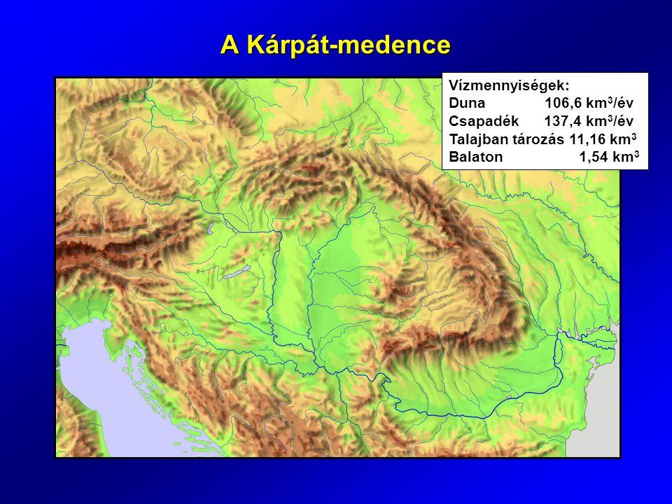 A Kárpát-medence Vízmennyiségek: Duna 106,6 km 3 /év Csapadék 137,4 km 3 /év Talajban tározás 11,16 km 3 Balaton 1,54 km 3