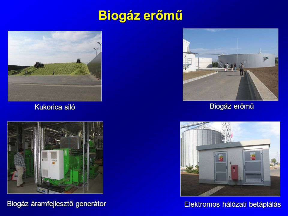 Biogáz erőmű Kukorica siló Biogáz erőmű Biogáz áramfejlesztő generátor Elektromos hálózati betáplálás