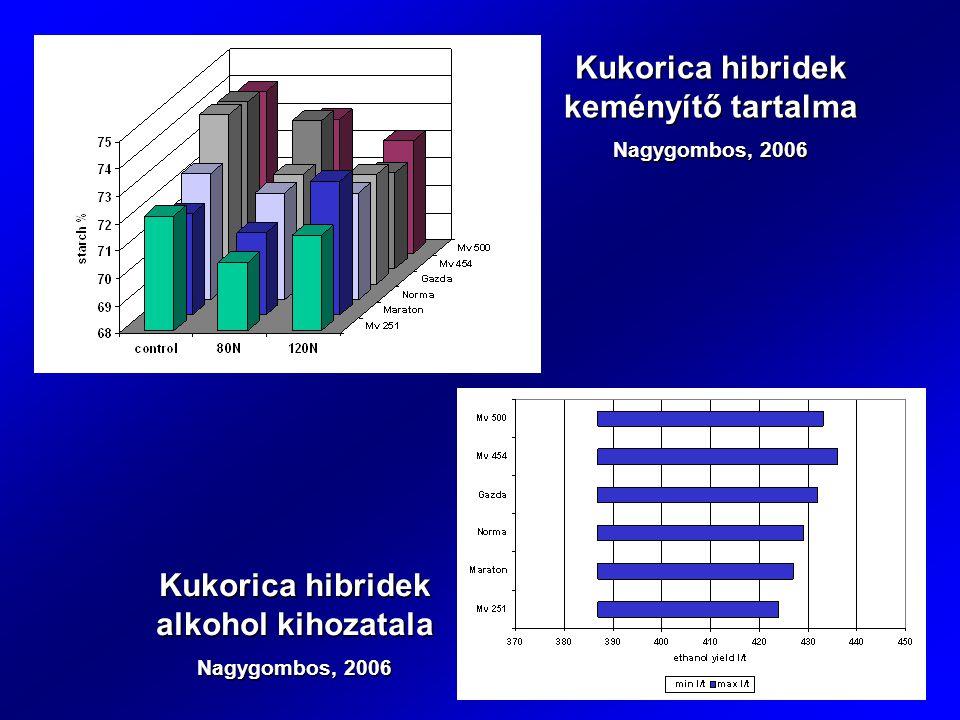 Kukorica hibridek keményítő tartalma Nagygombos, 2006 Kukorica hibridek alkohol kihozatala Nagygombos, 2006
