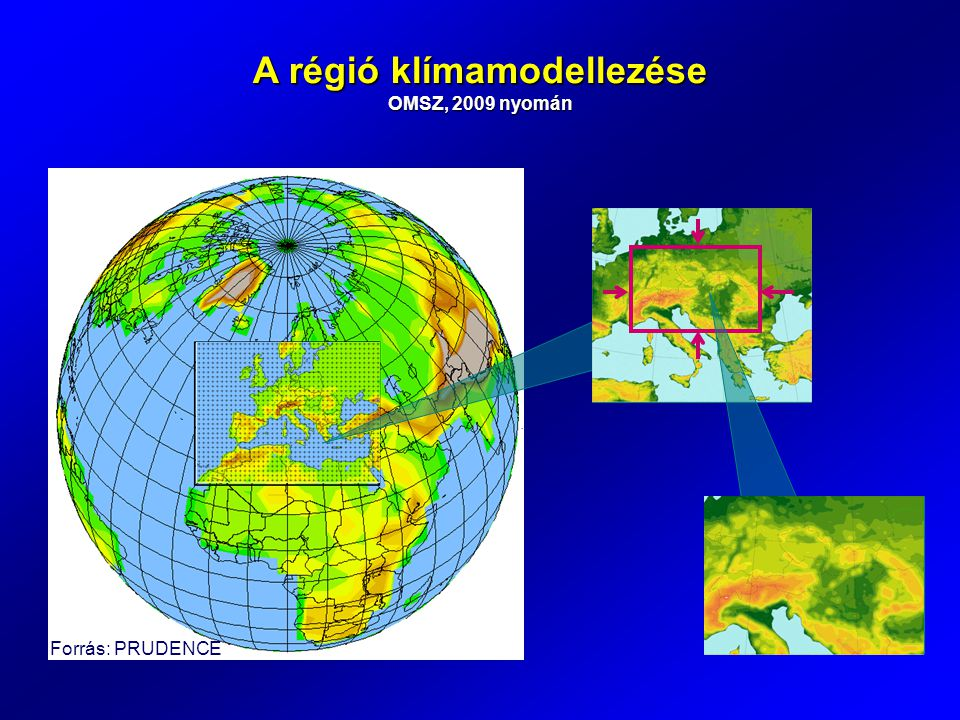 A régió klímamodellezése OMSZ, 2009 nyomán Forrás: PRUDENCE