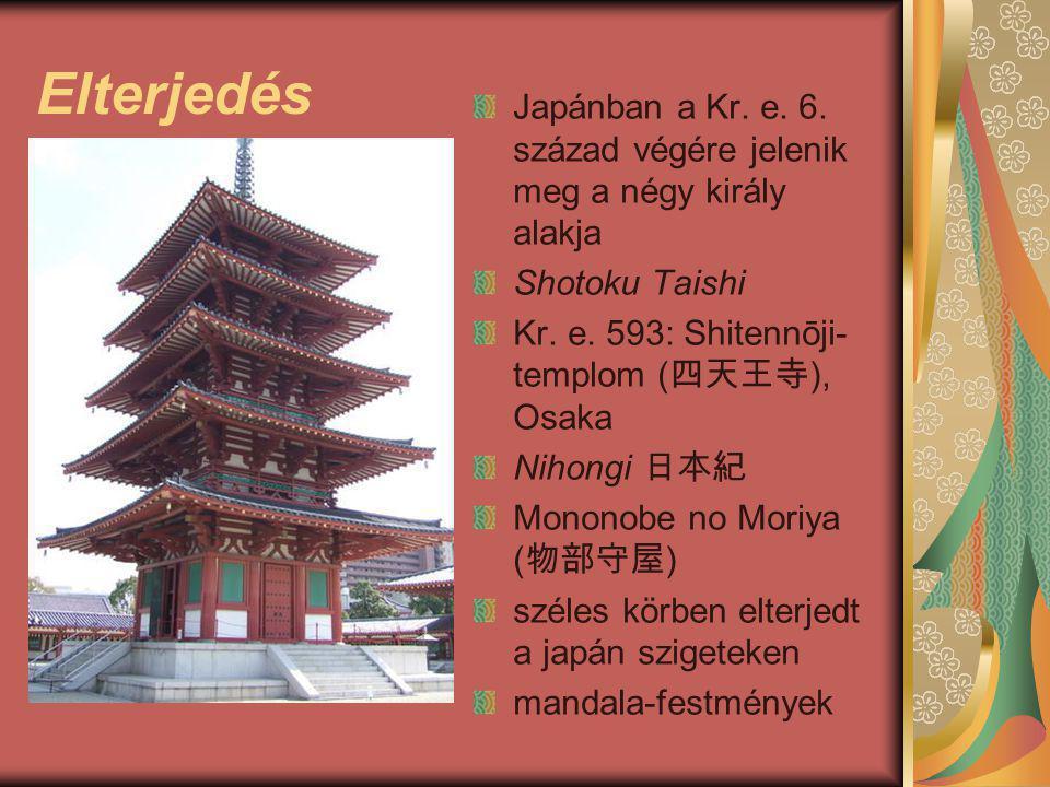 Elterjedés Japánban a Kr. e. 6. század végére jelenik meg a négy király alakja Shotoku Taishi Kr. e. 593: Shitennōji- templom ( 四天王寺 ), Osaka Nihongi