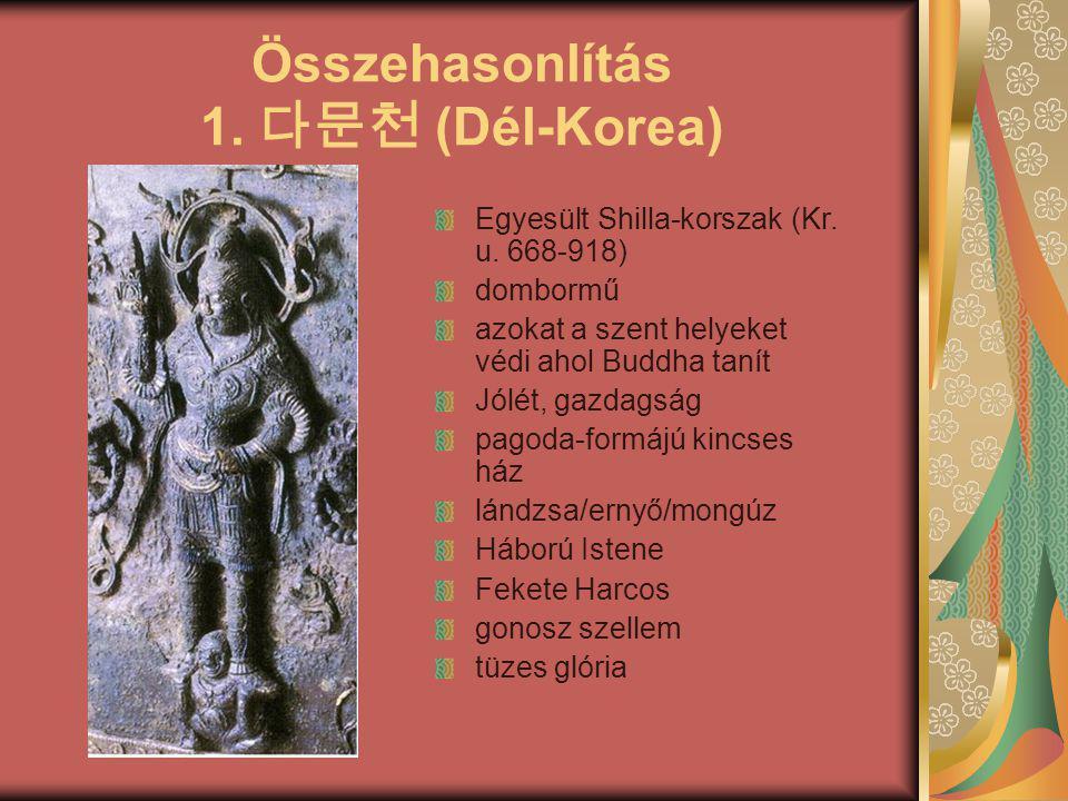 Összehasonlítás 1. 다문천 (Dél-Korea) Egyesült Shilla-korszak (Kr. u. 668-918) dombormű azokat a szent helyeket védi ahol Buddha tanít Jólét, gazdagság p