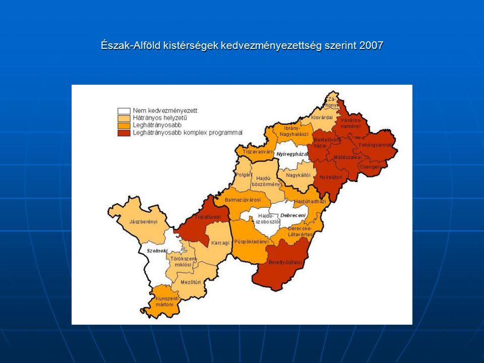 Észak-Alföld kistérségek kedvezményezettség szerint 2007