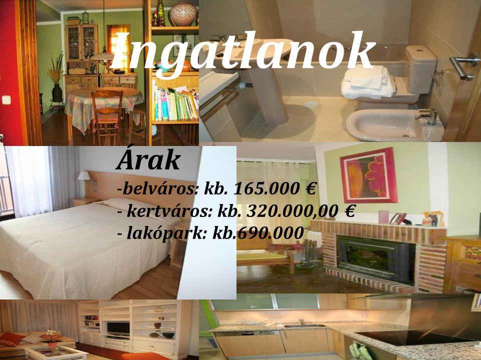 Ingatlanok Árak -belváros: kb. 165.000 € - kertváros: kb. 320.000,00 € - lakópark: kb.690.000