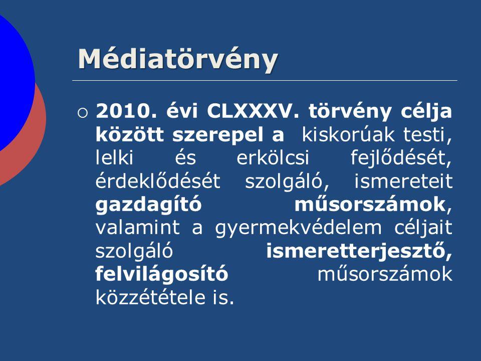 Médiatörvény  2010. évi CLXXXV. törvény célja között szerepel a kiskorúak testi, lelki és erkölcsi fejlődését, érdeklődését szolgáló, ismereteit gazd