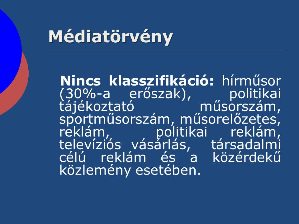 Médiatörvény Nincs klasszifikáció: hírműsor (30%-a erőszak), politikai tájékoztató műsorszám, sportműsorszám, műsorelőzetes, reklám, politikai reklám,
