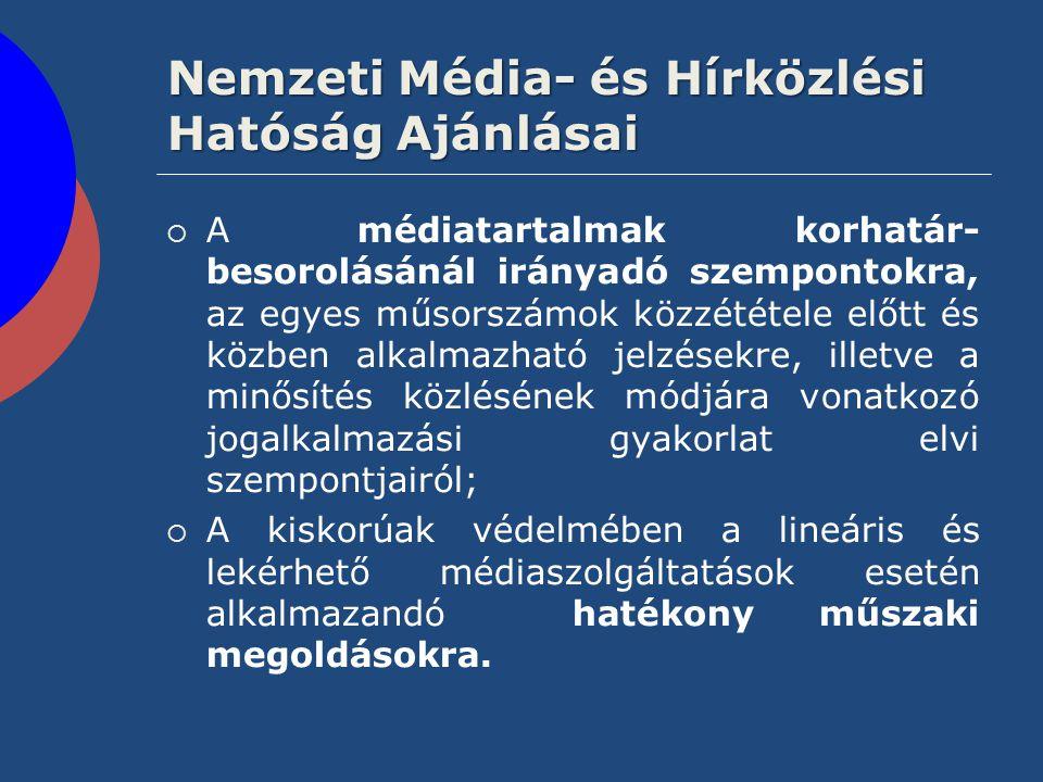 Nemzeti Média- és Hírközlési Hatóság Ajánlásai  A médiatartalmak korhatár- besorolásánál irányadó szempontokra, az egyes műsorszámok közzététele előt